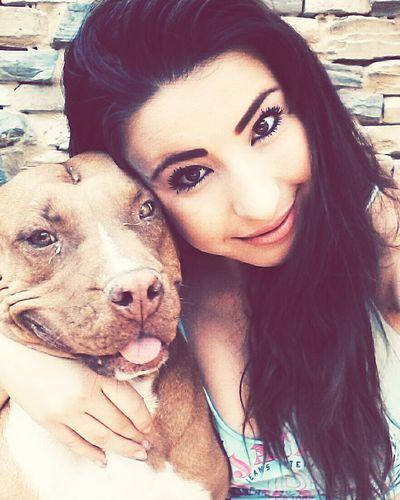Beautiful Brunnette Girl Dog Pitbull Magical_moment