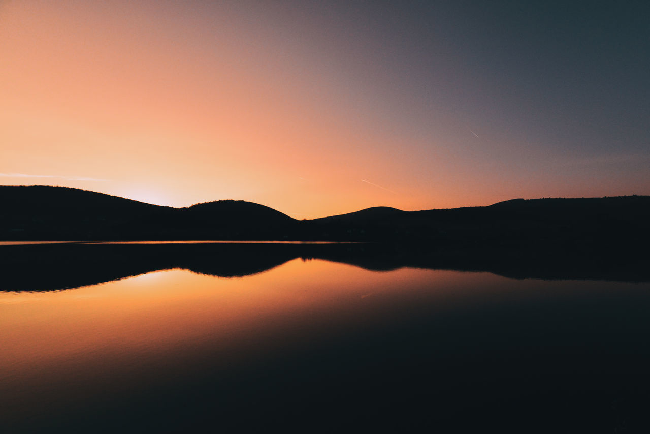 Beauty In Nature Day Golden Hour Idyllic Lake Landscape Mountain Mountain Range Nature No People Orange Color Outdoors Reflection Scenics Silhouette Silhouette Sky Skyporn Summer Sun Sunset Sunset_collection Tranquil Scene Tranquility Water The Great Outdoors - 2017 EyeEm Awards