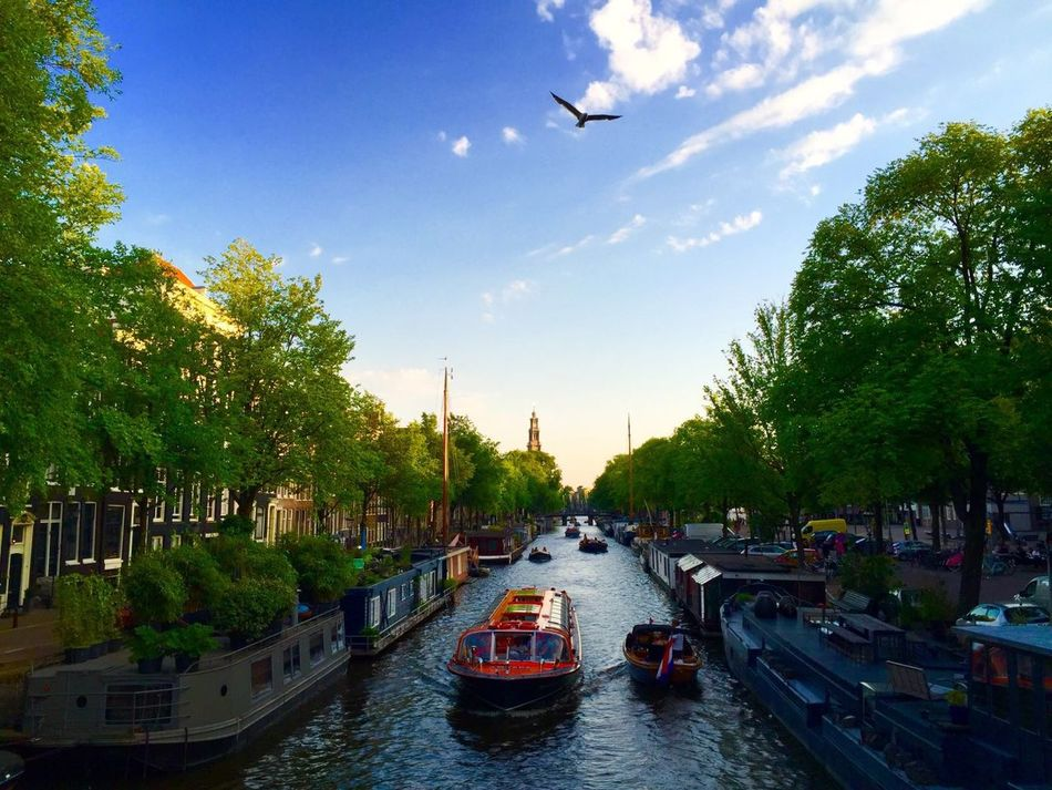 Amsterdam Canal Day Jordaan Lifestyles Mode Of Transport Nautical Vessel Netherlands No People Outdoors River Scenics Sky Transportation Tree Water Waterfront