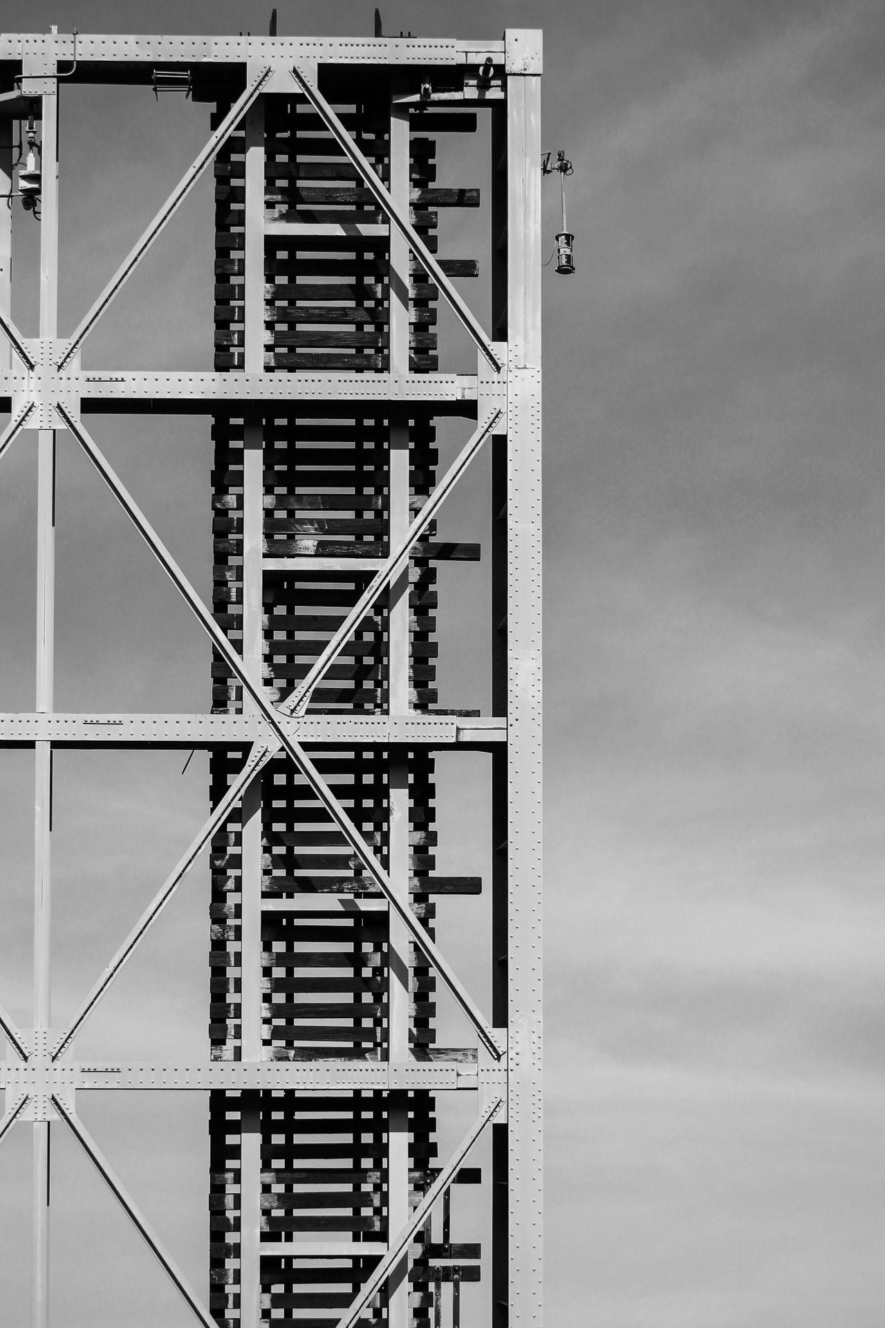 Architecture Built Structure Sky Train Tracks Drawbridge  Drawbridge Up Blackandwhite Black And White Black & White Outdoors Day No People Nature