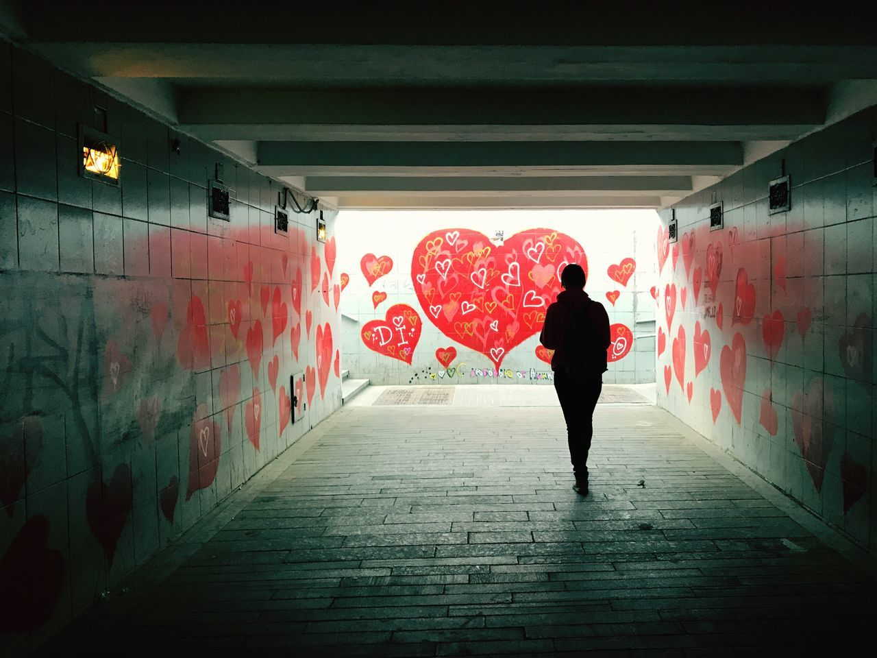 Graffiti Red One Person Real People Full Length Lifestyles Architecture Underground Adults Only Adult Built Structure Outdoors Heart Heart Shape Walking Alone... Walking Wall Art Silhouette Tunnel