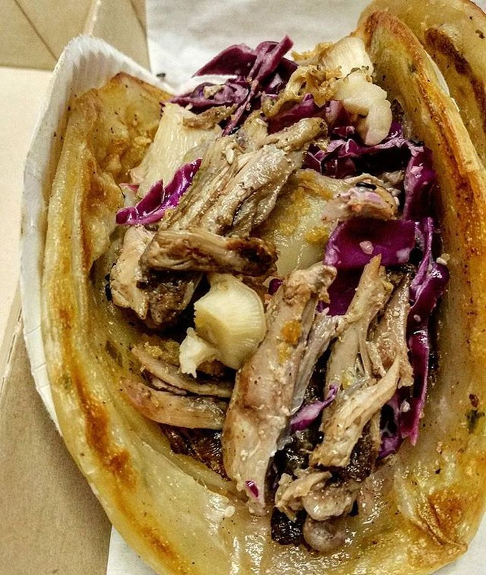 A serious revolution in Tacos . Roast Duck in a Scallion Pancake Shell with Plum BBQ 😍 Tacoporn Tacoseveryday Phillyeats Eaterphilly Eeeeeats Dailyfoodfeed Feedfeed Feedyoursoul Yahoofood Todayfood F52grams Zagat Eater