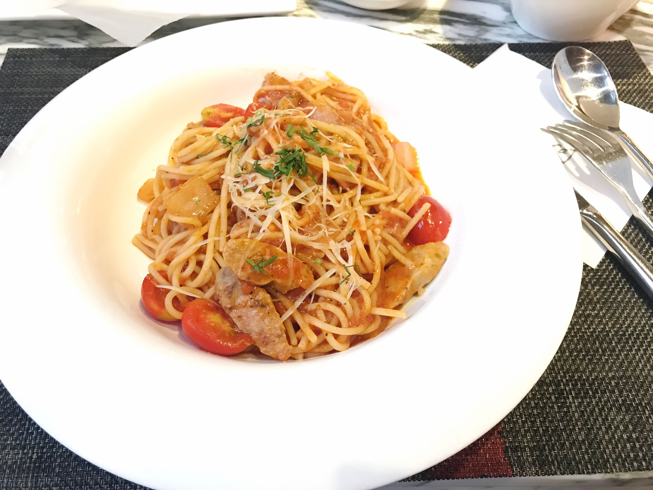 food and drink, pasta, plate, food, fork, ready-to-eat, freshness, italian food, table, serving size, indulgence, no people, healthy eating, indoors, spaghetti, high angle view, close-up, meal, gourmet, day