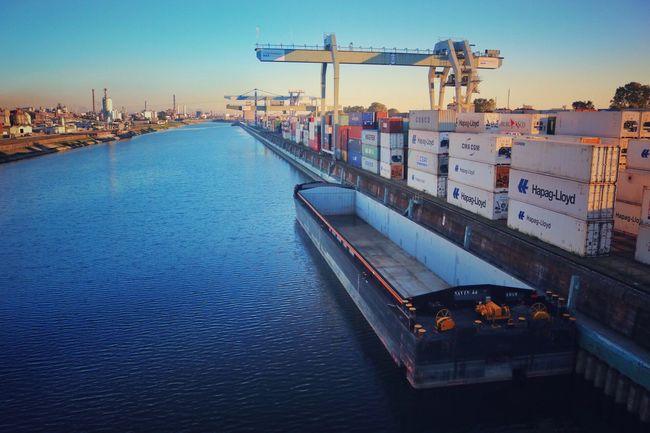 Hafen, Ludwigshafen Ludwigshafen Rheinland-Pfalz  Rhein Brücke Bridge Water Crane Industrial Industry River Ship Hafen Sun Summer Sky Clear Sky Mannheim Deutschland Germany Waterfront