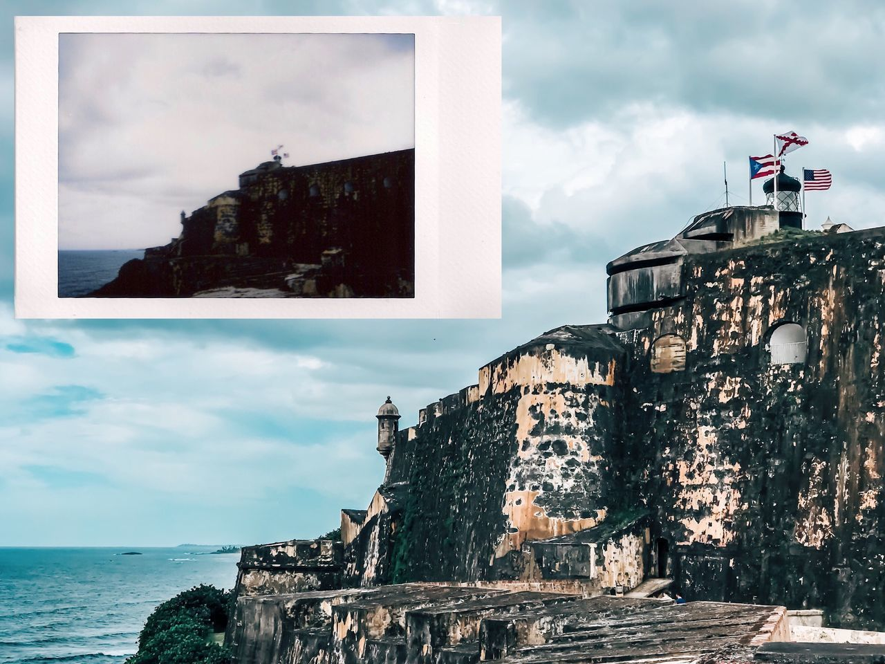 Instant Photo A Day Puerto Rico Cloud - Sky Architecture Sky Built Structure Building Exterior Sea History Day Water Outdoors Fort Castle Travel Destinations No People Nature Film Photography Filmisnotdead