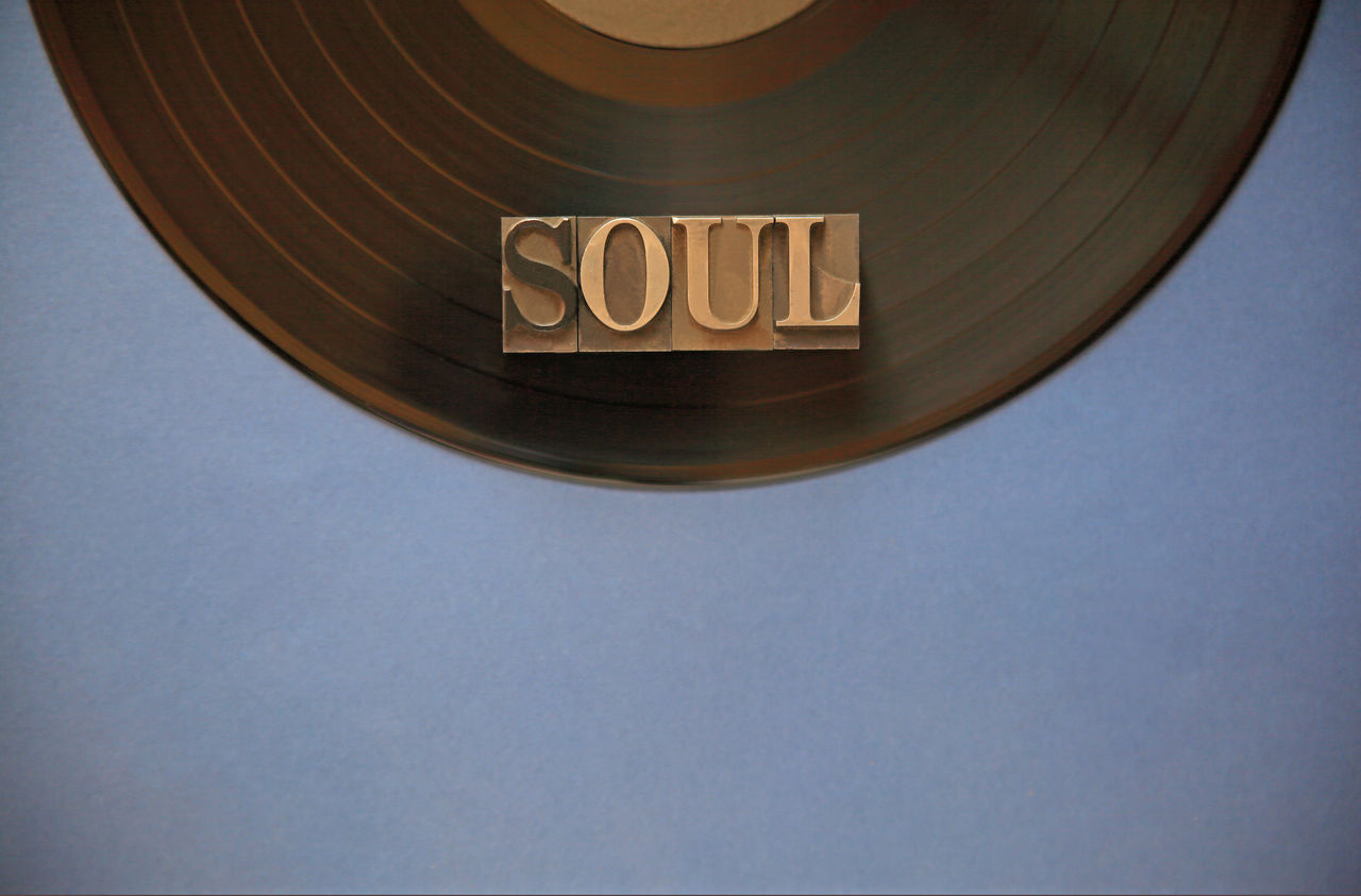 Directly Above Shot Of Soul Text On Vinyl Record