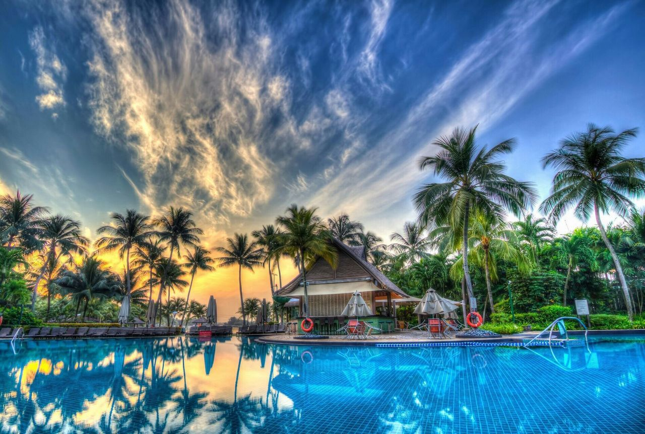palm tree, swimming pool, water, tree, vacations, tourist resort, sky, tranquility, cloud - sky, tranquil scene, tropical climate, outdoors, reflection, waterfront, day, nature, beauty in nature, no people, scenics, relaxation, luxury hotel, sea, swimming, spa