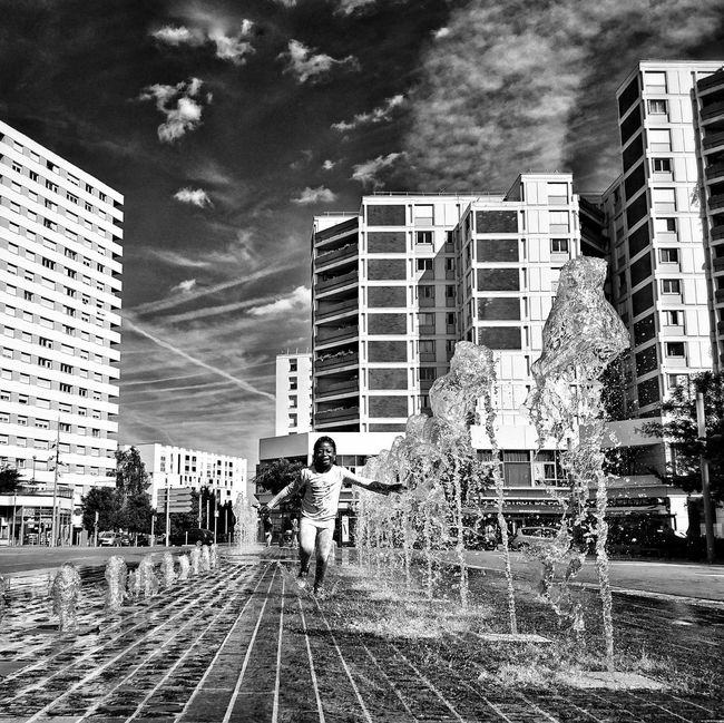 Place René Clair. 🎬 Streetphotography Streetphoto_bw built structure Building Exterior Architecture City Tall - High Road Sky Tower Car Street Building Story City Life Office Building Skyscraper Development City Street Modern Outdoors Day Apartment