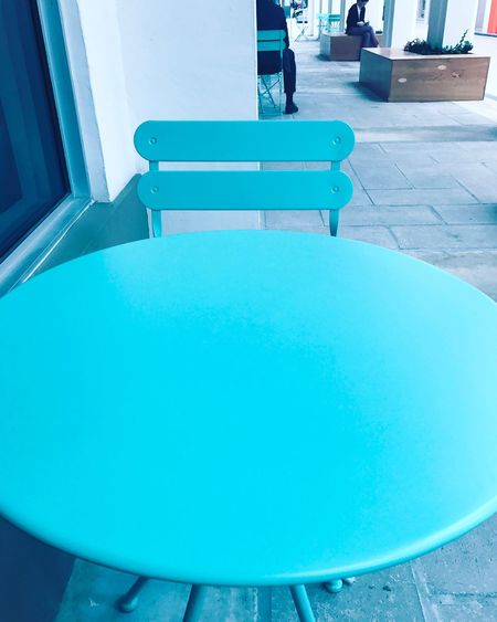Mundane Aesthetic Table Chair Simple Moment Peace And Quiet Alone Time Thinking Turquoise