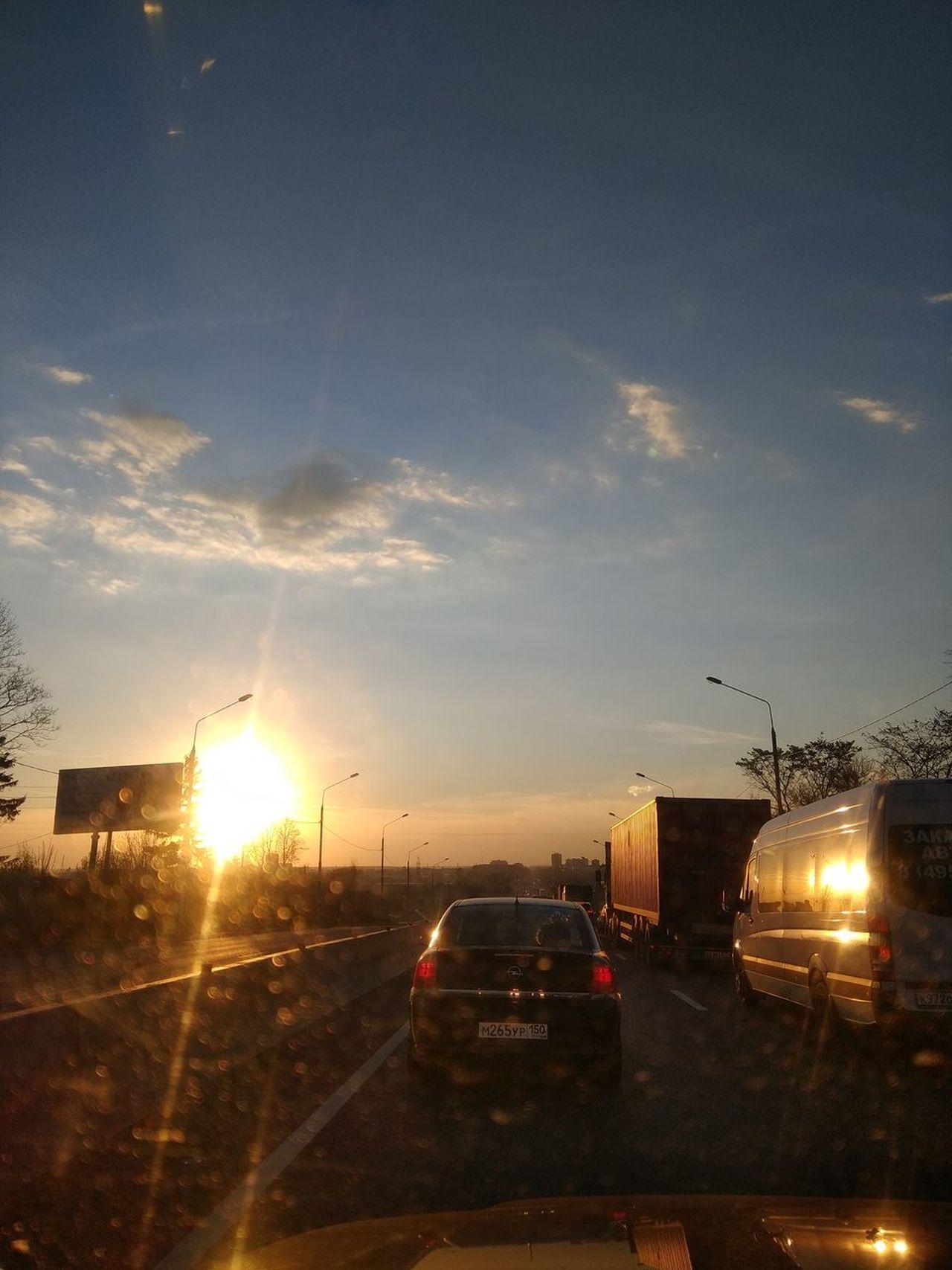 Sunset Outdoors Sky City Day Road Transportation Incar Automobile