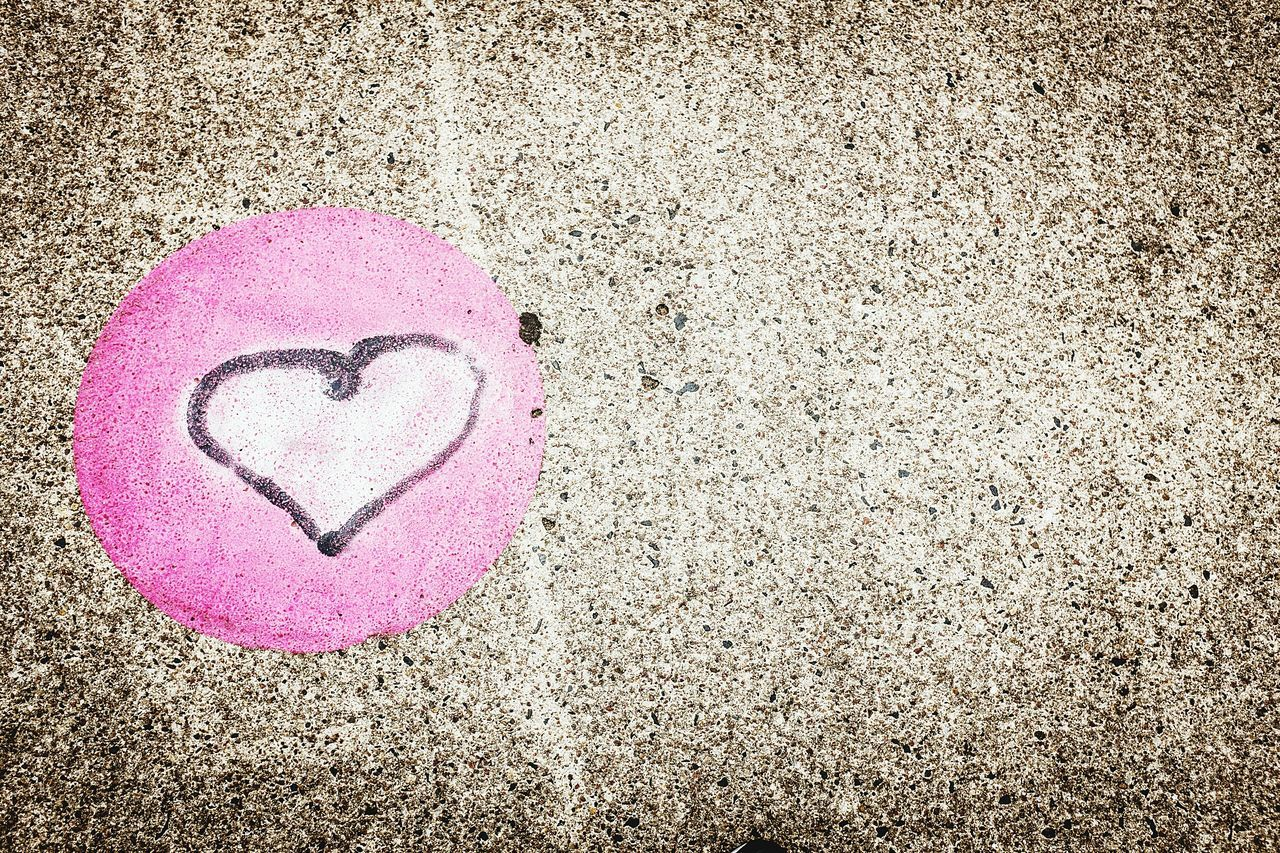 heart shape, love, pink color, sand, day, outdoors, no people, beach, close-up, nature