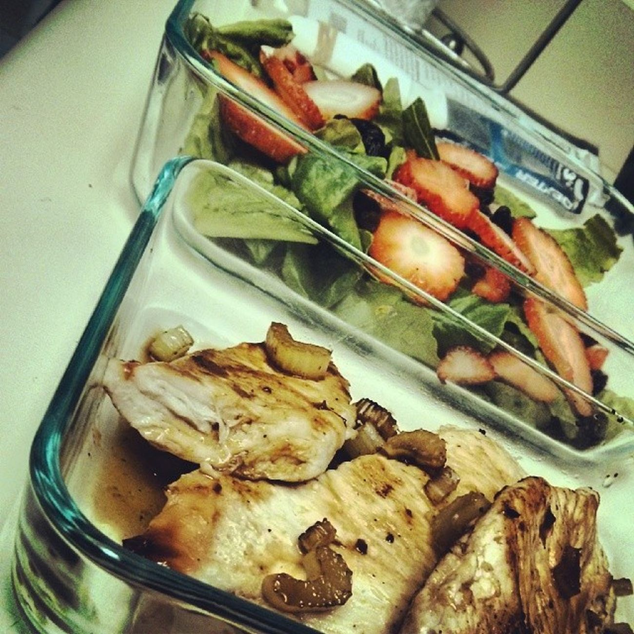 Celery Fried Chicken with an Onion & Garlic Reduction served with Strawberry and Raisin Salad for my sister's lunch. Boom! | GastonAcurioMode Lunchtime Lunch HelpingMom Florida USA