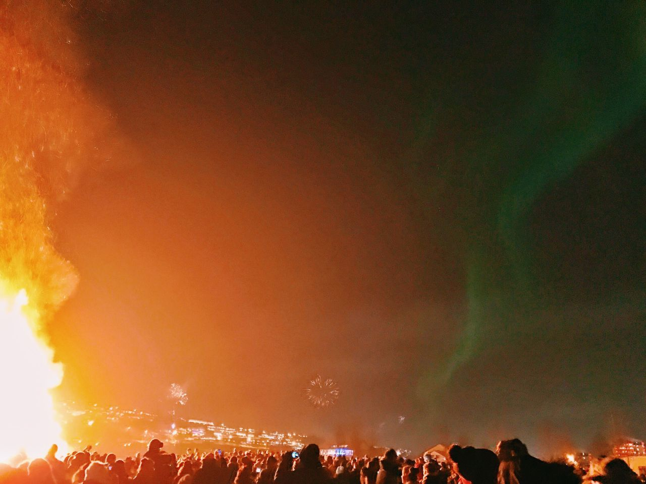 Bonfire Fireworks Aurora Borealis NorthernLights Reykjavik Iceland Nye2016 NewYear Celebration IPhone7Plus