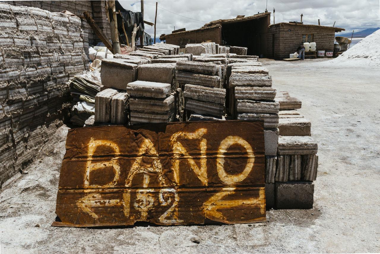 Argentina Bathroom Bricks Built Structure Jujuy Province Salinas Grandes Salt Bricks Salt Flats Salt Lake City Sign