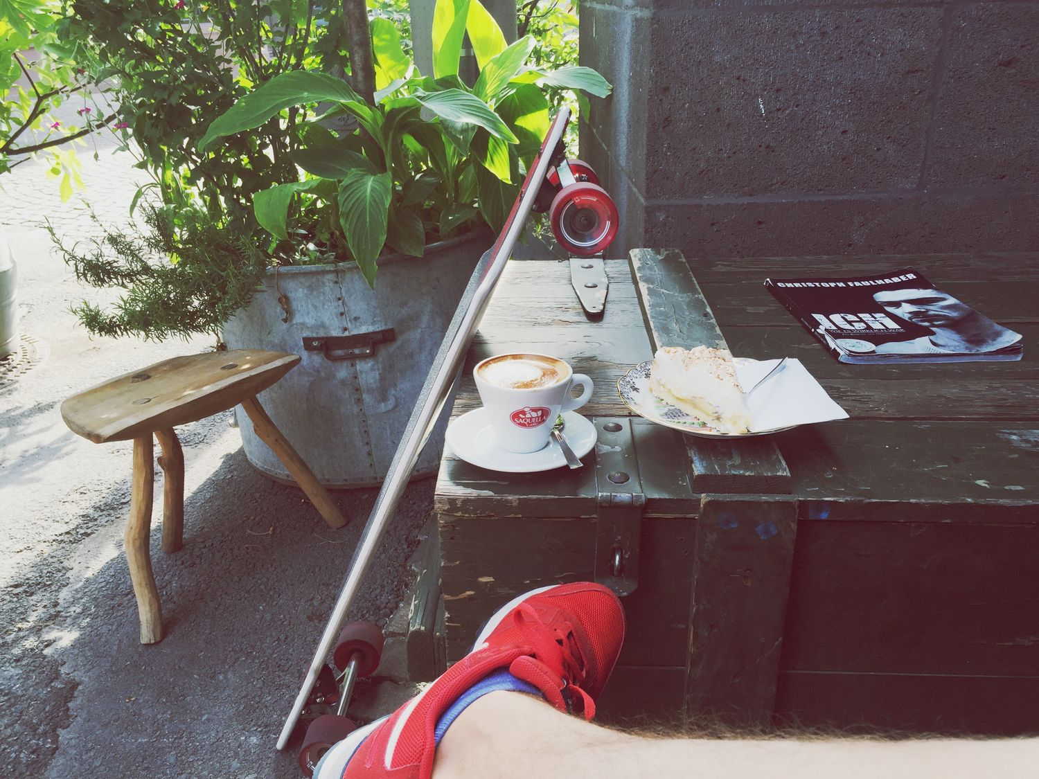 Delicious Cake Cappuccino Coffee Coffee Time Longboard Skateboarding Red Shoes