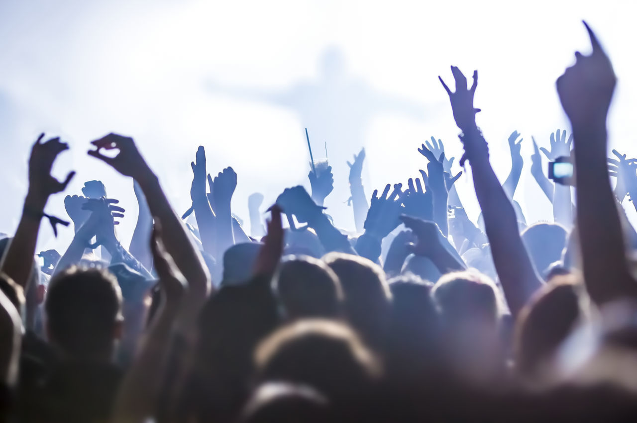 Beautiful stock photos of music,  Arms Raised,  Arts Culture And Entertainment,  Audience,  Blue