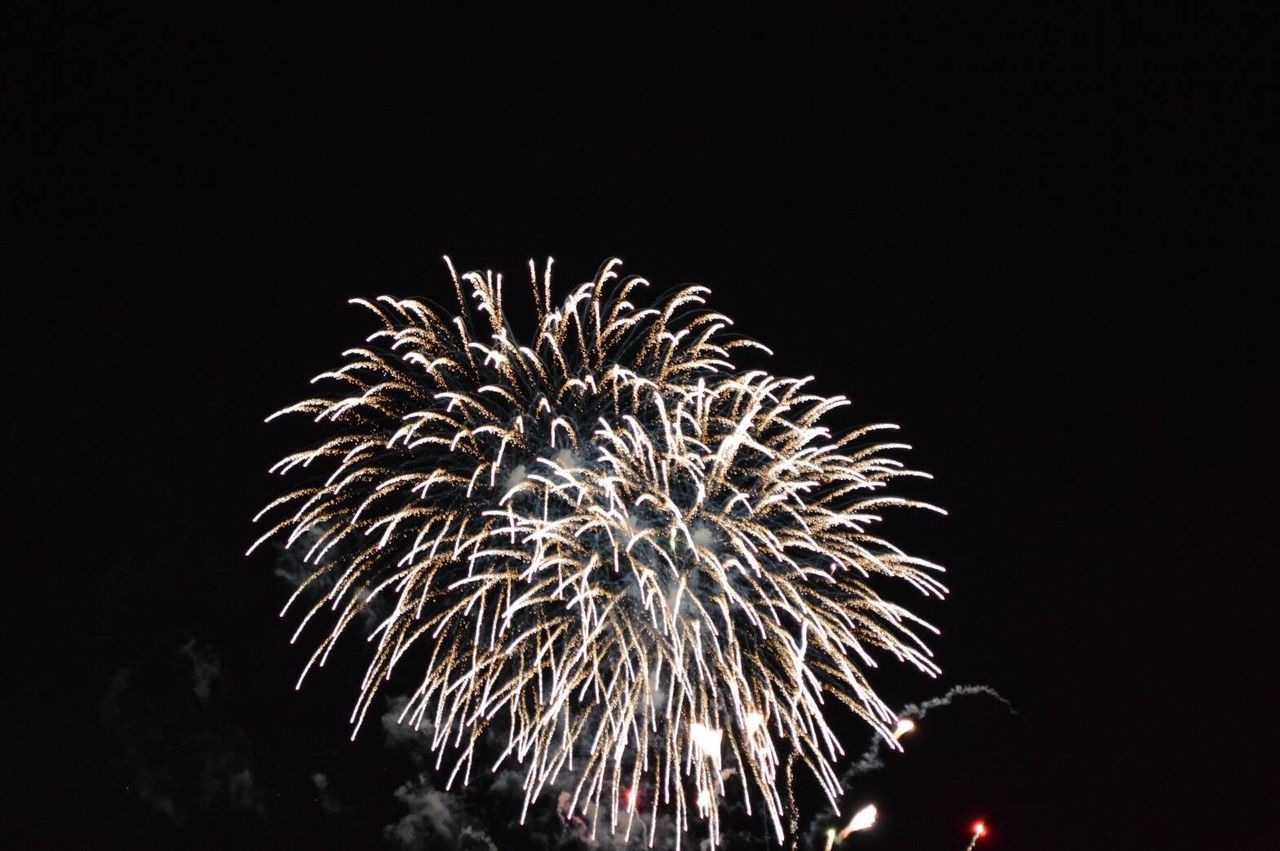 firework display, night, firework - man made object, celebration, exploding, event, arts culture and entertainment, low angle view, long exposure, illuminated, blurred motion, firework, motion, no people, outdoors, sky, black background
