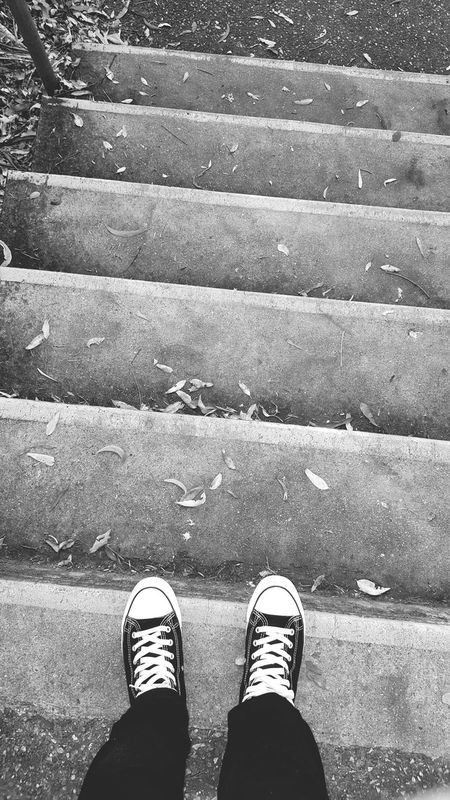 Low Section Shoe Standing Real People Human Leg High Angle View Personal Perspective Lifestyles Outdoors One Person Human Body Part Day Men Adults Only Adult People Dramatic Blackandwhite Converse Stairs Shoes ♥ Leg Going Down Downstairs