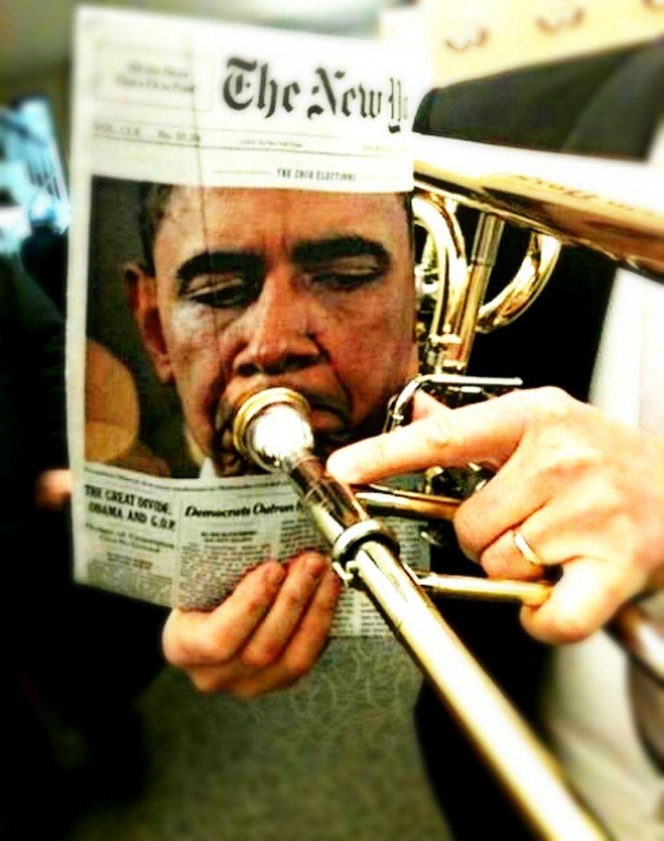 Obama plays trombone ! President Montage Joke Brass Instruments Creativity