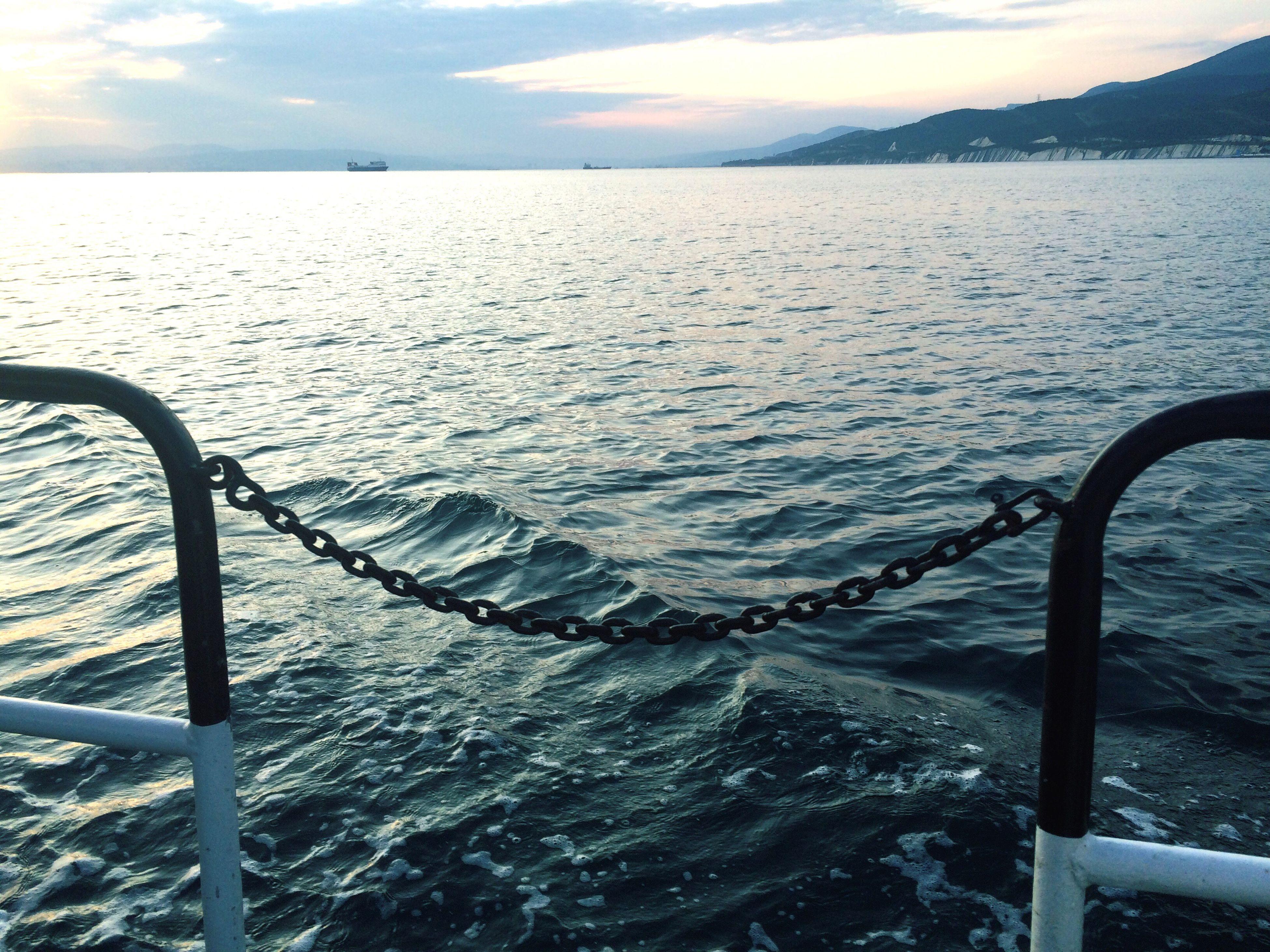 Sea Ship Swimming Sunset Sky Nature