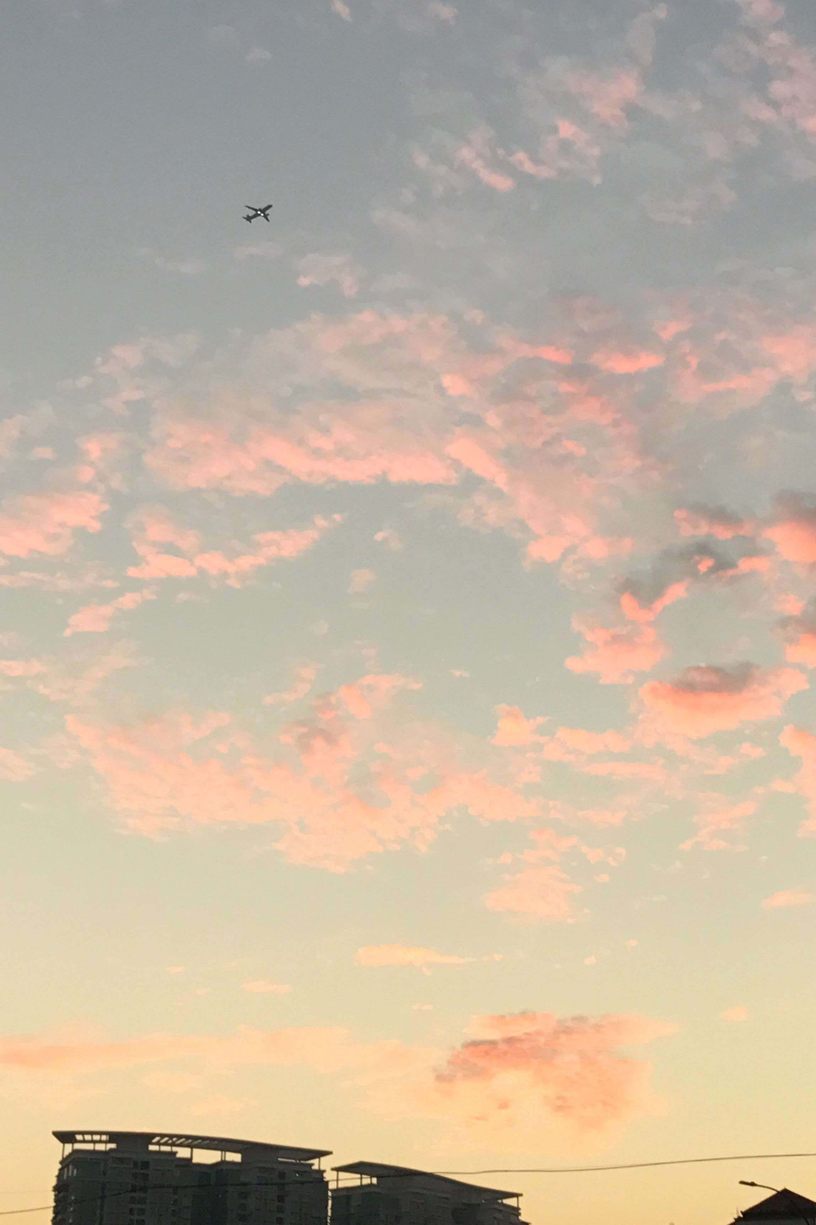 flying, sky, sunset, low angle view, no people, building exterior, airplane, cloud - sky, nature, silhouette, architecture, outdoors, beauty in nature, scenics, day