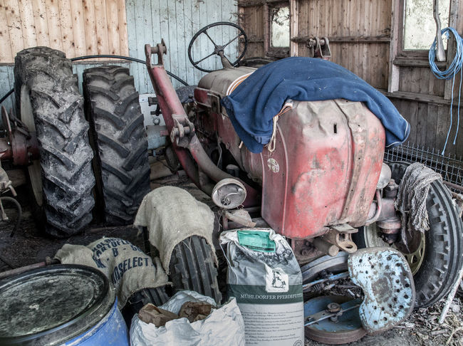 Barn Day Deterioration Forage Machinery Old Outdoors Run-down Stationary Tractor