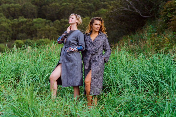 Adult Adults Only Beautiful Woman Blond Hair Bonding Day Denim Jacket Friendship Full Length Grass Long Hair Nature Only Young Women Outdoors People Portrait Real People Togetherness Two People Young Adult Young Women