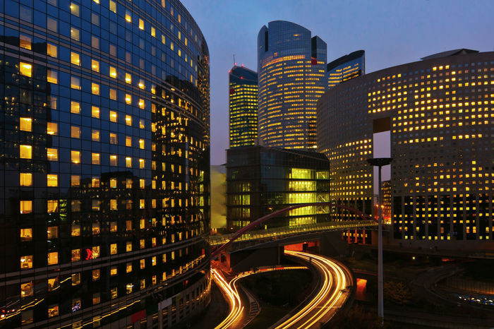 office buildings in the district La Defense, Paris, France, at night Architecture Building Exterior Built Structure City Cityscape Europe France Illuminated La Défense Light Light Trail Light Trails Long Exposure Modern Night Night Lights No People Office Building Paris Sky Skyline Skyscraper Traffic Urban Urban Skyline
