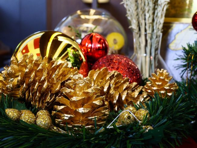 Golden pine cones decoration for new year and Christmas holiday Christmas Celebration Christmas Decoration Tradition Close-up Bauble Indoors  Christmas Tree No People Christmas Ornament Holiday - Event Food Tree Day Freshness
