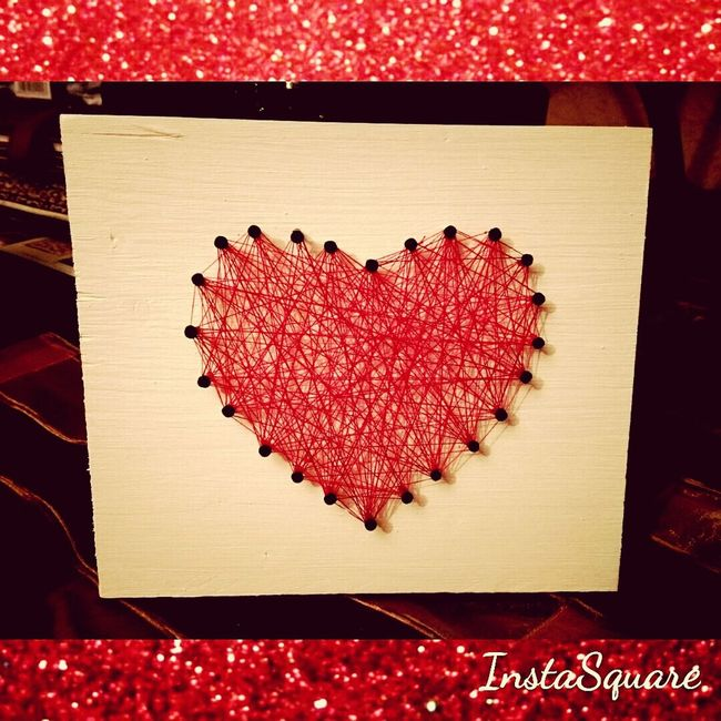 That's make Fun... some Wood, Color, Nails & Yarn.....Present 4 Valentines Day DIY Love ♥ Loveyousomuch❤❤❤ Valentine MyLove❤ Handmade Handmade By Me Creativity Creative Creativetime Present Presentformylove