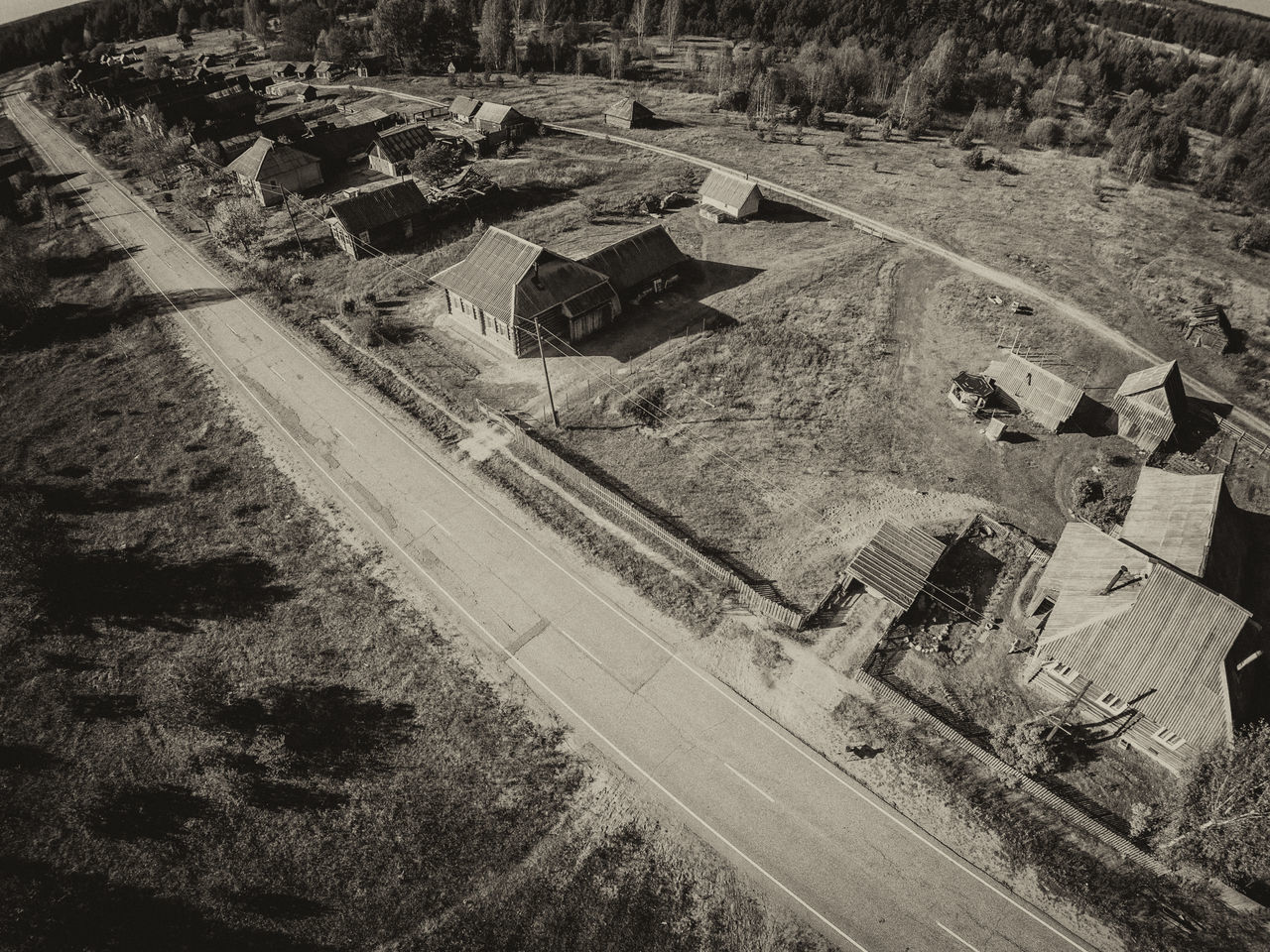 Village along the road. One of the many villages Maksatihinsky district of Tver region. Aerial Shot Aerial View Architecture Asphalt Black & White Bw_collection Countryside Day Drone  Dronephotography High Angle View Nature No People Outdoors Road Rural Scene Shadow Village