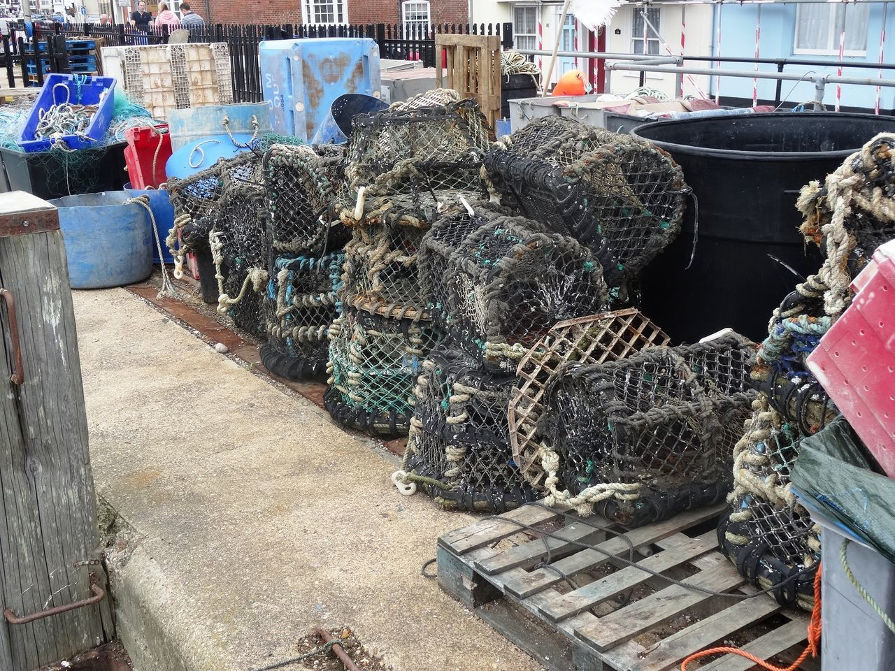 Basket Buckets Container Day Fishing Large Group Of Objects Lobster Pots Outdoors Pots Weymouth Harbour