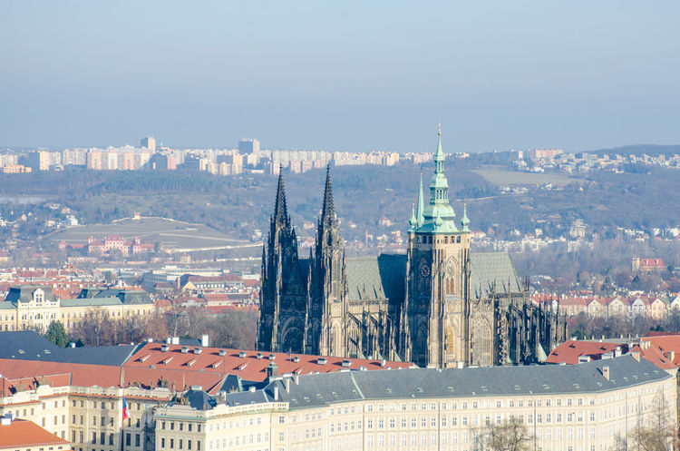 St Vitus Cathedral in Prague Architecture Bridge Building Exterior Built Structure City Cityscape High Angle View St Vitus Cathedral