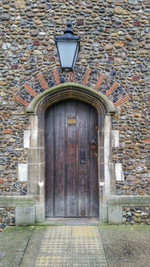 Stone Detail Church Medieval Architecture Stone Architectural Detail Chelmsford Cathedral Stone Wall Flint Doorway Timber Door Gothic Arches Quoins