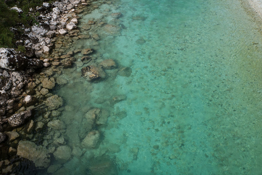 Nature Slovenia Beauty In Nature Bovec Clear Water Crystal Clear High Angle View Nature Negative Space No People Outdoors Rock - Object Soca Turquoise Water Perspectives On Nature