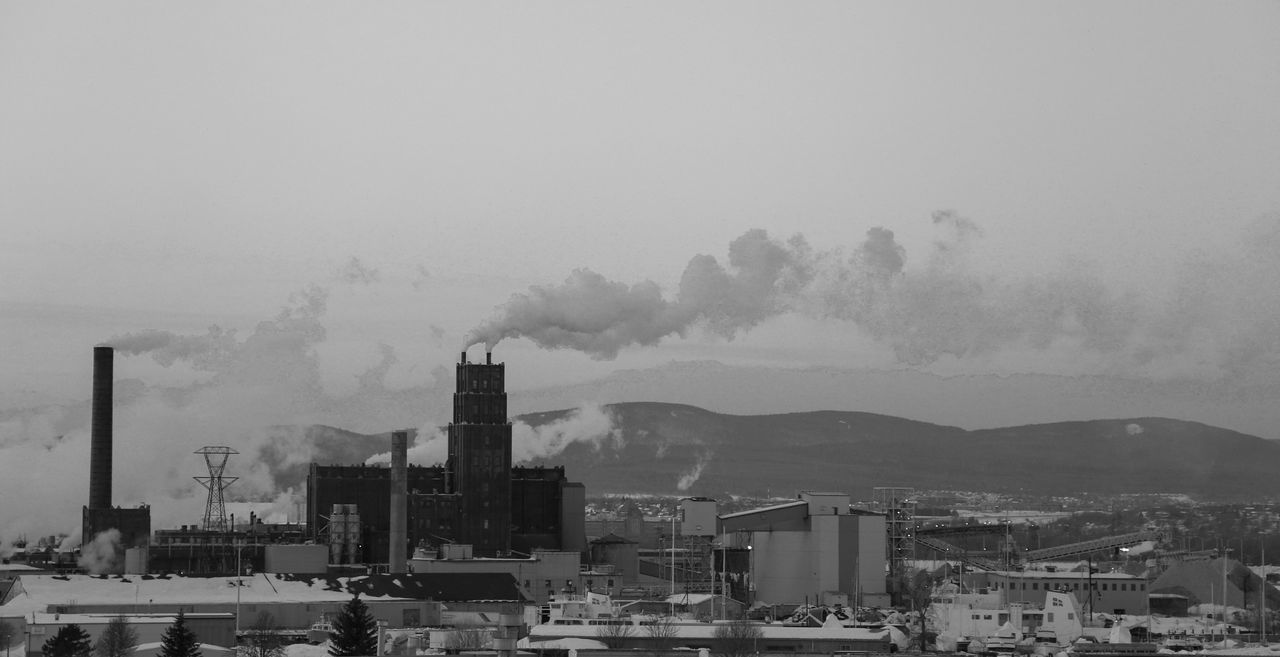 architecture, building exterior, built structure, industry, factory, no people, outdoors, smoke stack, city, clear sky, sky, cityscape, day, nature