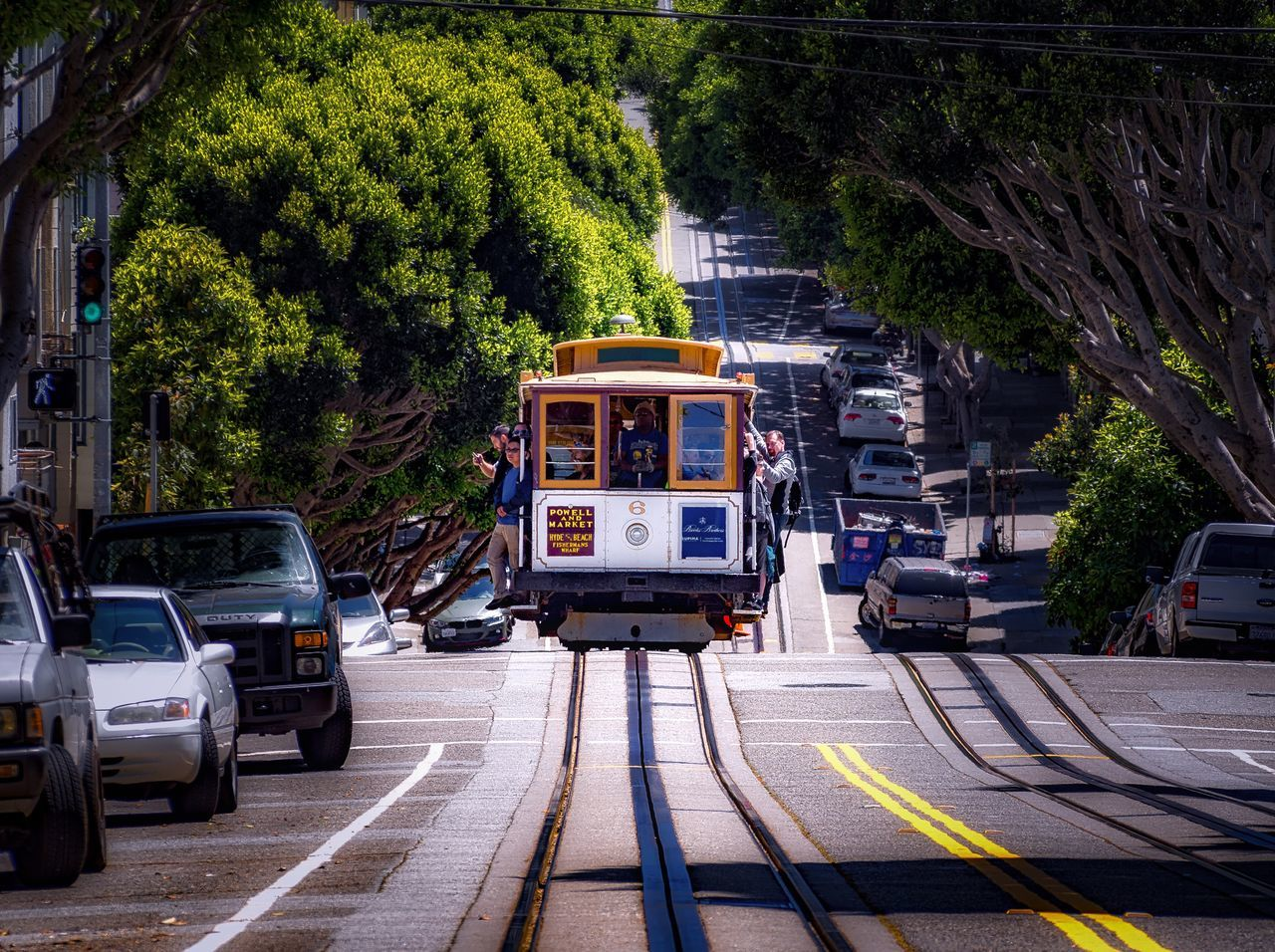 San Francisco Cable Car Travel Travel Photography Travel San Francisco California Public Transportation Trolly Cityscapes Trees Urban Landscape Leading Lines Outdoors The Way Forward Street Diminishing Perspective City Life