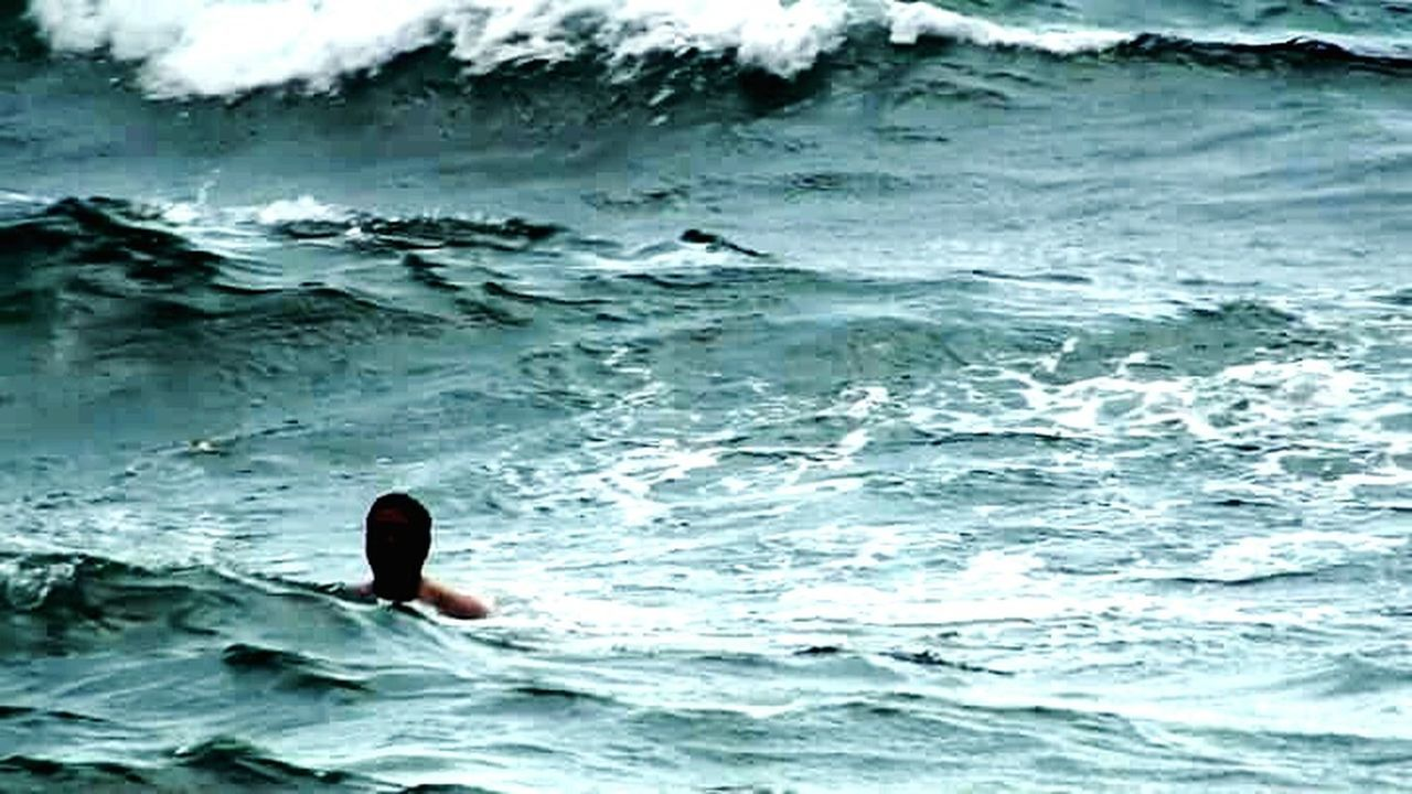 water, sea, wave, rippled, motion, outdoors, swimming, day, one person, nature, one man only, close-up, people, animal themes, only men