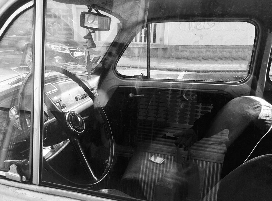 Blackandwhite Car Car Seat City Close-up Day Fiat 500 History Minimal Mode Of Transport Monochrome Old Car Oldtimer Reflection Small Car Transportation Travel Trip Vehicle Interior Wheel Window