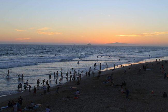 Sea California Beach Large Group Of People Scenics Sky Sunset Nature California Love California Dreaming