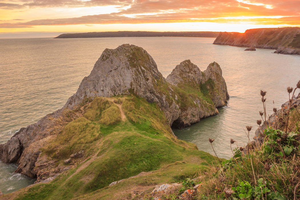 Three Cliffs Bay Three Cliffs Bay, Gower Gower Peninsular South Wales Gower Sunset Gower Coast Gower Peninsula Gower Beach Gowercoast Gower View Welsh Beaches Three Cliffs Sunset Sunset Sea Beach Outdoors Landscape Horizon Over Water Sky Travel Destinations Scenics Panoramic Sand Tranquility Water