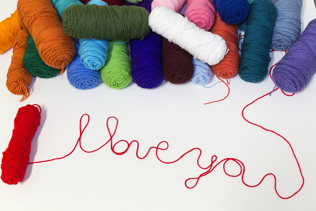 Art Backgrounds Choice Close-up Craft Crochet Day Handmade Iloveyou Indoors  Knitting Large Group Of Objects Love Message Multi Colored No People Positive Variation Words Yarn