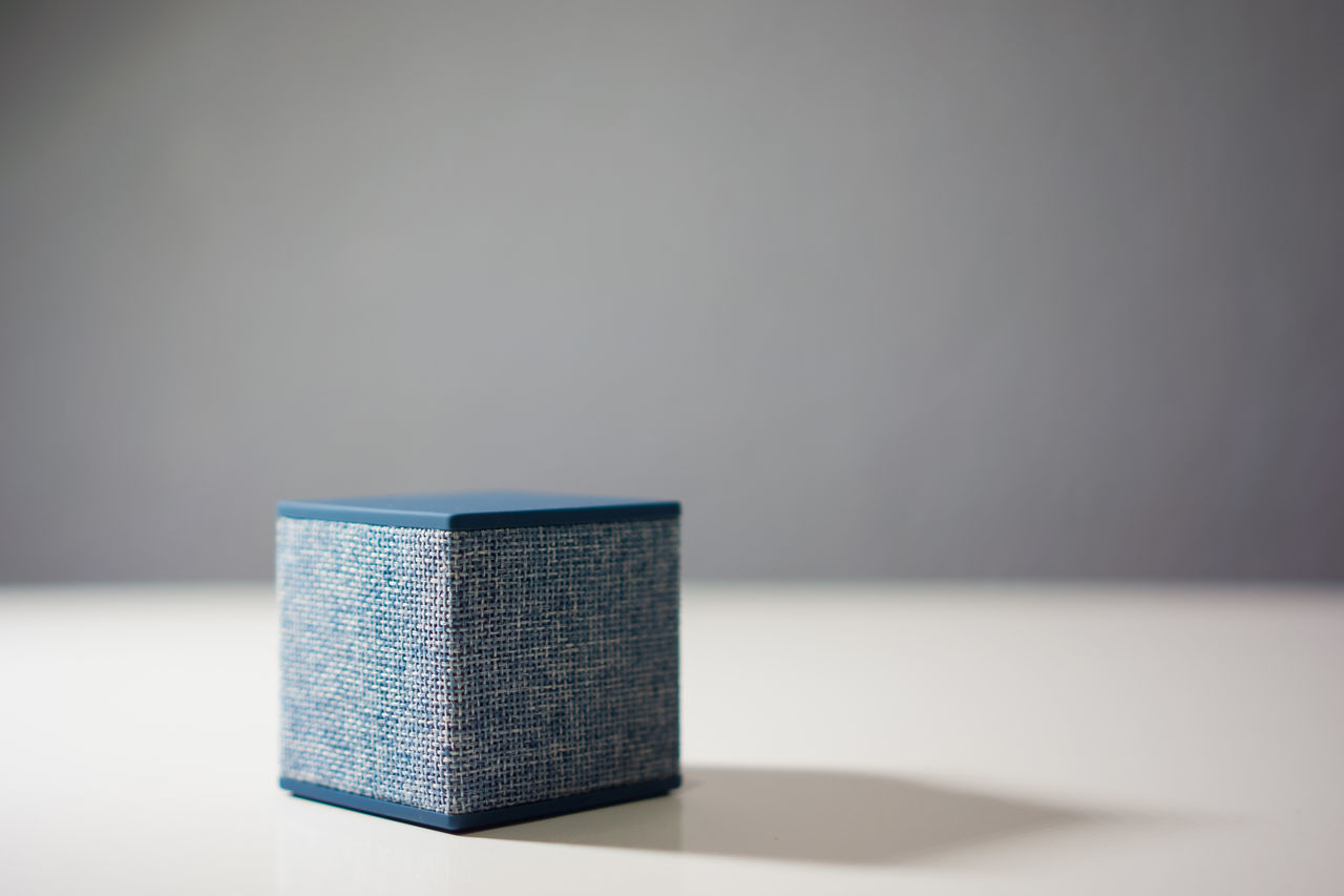 Blue Bluetooth Fabric Gray Background Indoors  Music No People Smartphone Speaker Close Up Technology