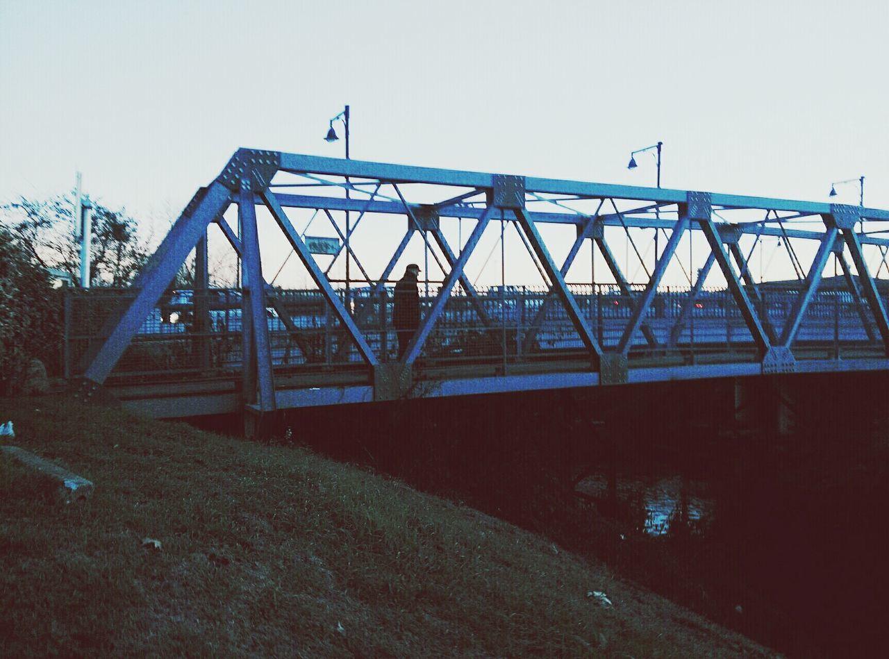 Walking Alone Lonely Man Bridge - Man Made Structure Architecture Railway Bridge City Sky Transportation Outdoors