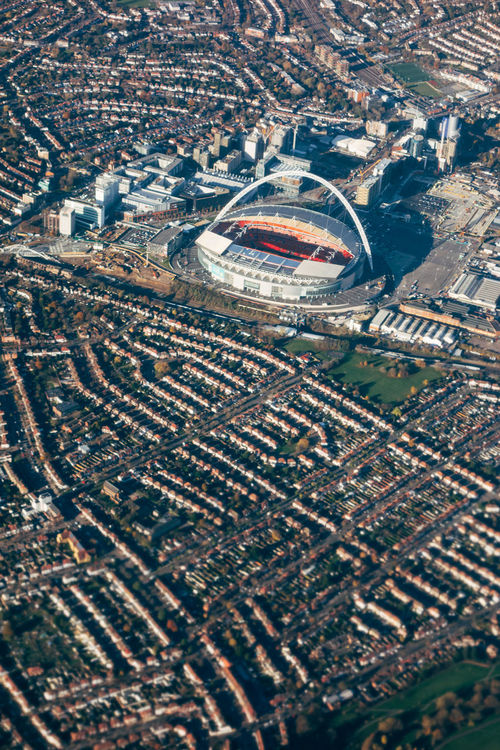 Aerial View Airplane Architecture City Cityscape High Angle View London Neighborhood Map No People Stadium LHR