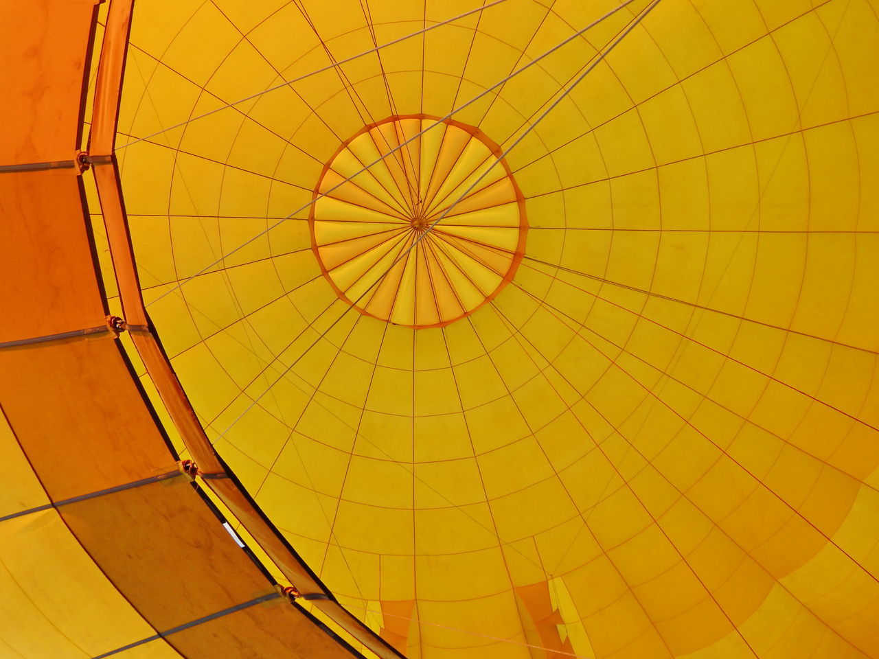 Inside flying air balloon Adventure Backgrounds Ballooning Festival Bright Day Hot Air Balloon Inside Inside Things No People Outdoors Pattern Sky Transportation Yellow