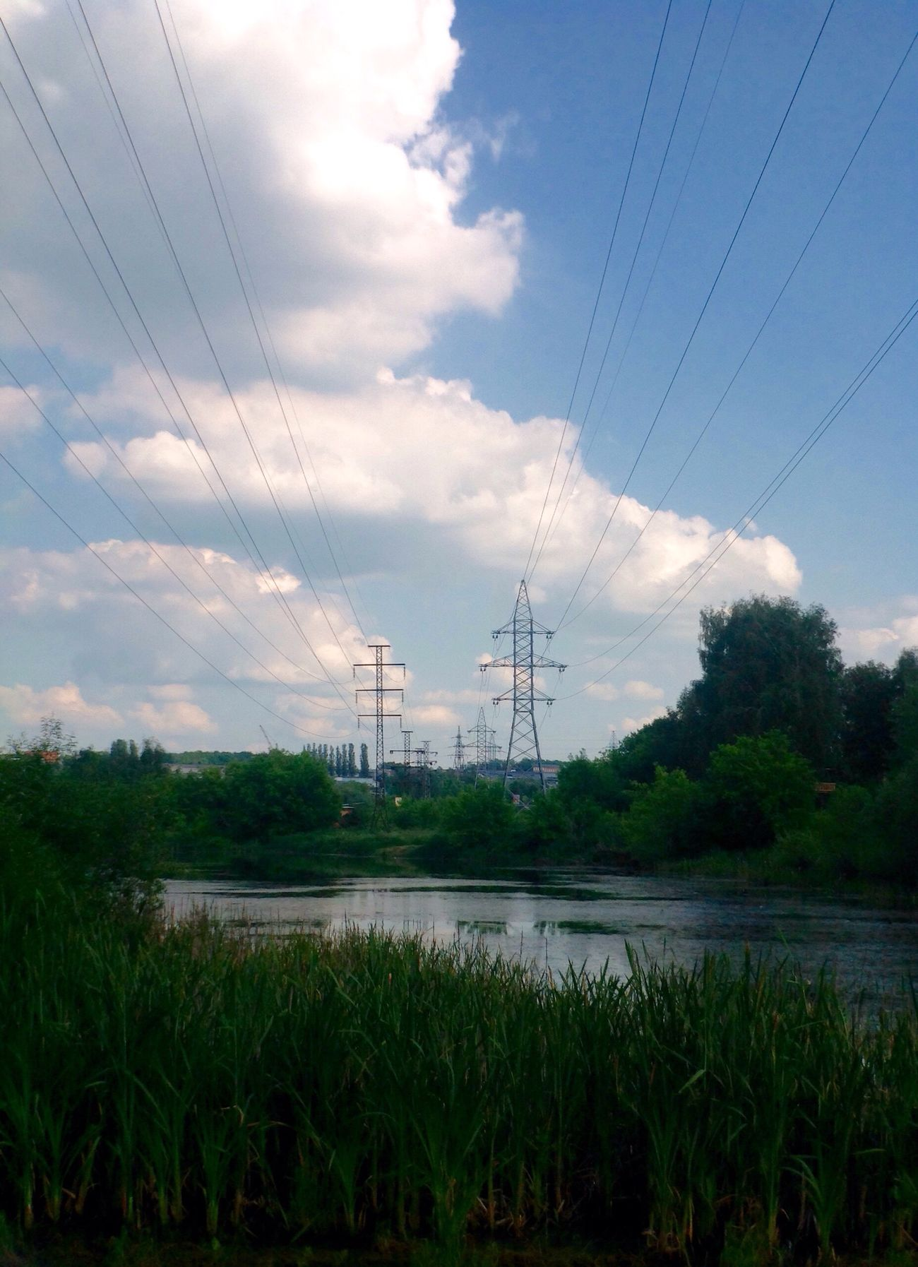 Electricity  Cable Sky Power Line  Electricity Pylon Power Supply Cloud - Sky Technology Nature Scenics Electricity Tower Landscape Connection Outdoors No People Grass