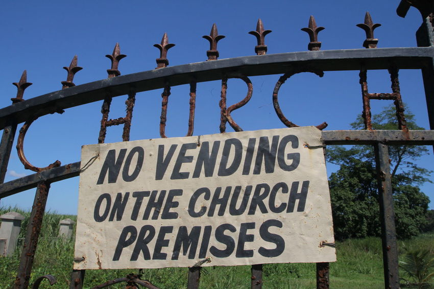 Church Negril, Jamaica Display Fence Jamaica Not Allowed Order Placard Vending