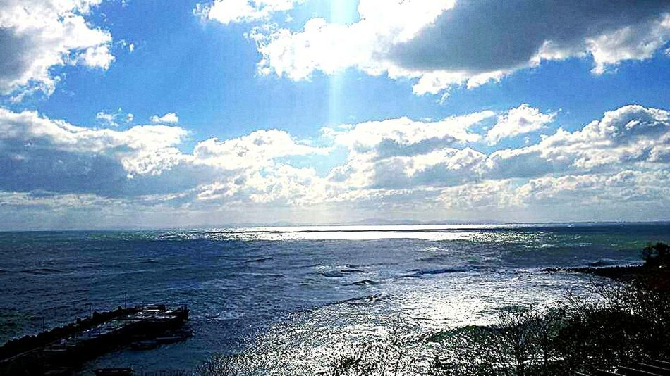 Beautiful Sea And Sky Sea Clouds Love Sky Big Sky Sky Photo Taking Photo Beauty Big Clouds Dramatic Sky Colour Photography Documenrary Photography Seascape Skyscape
