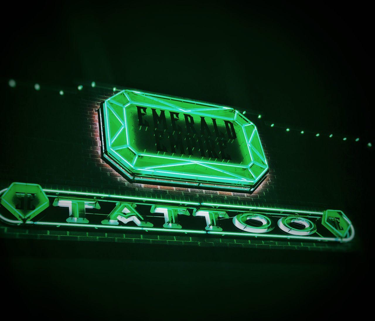 Illuminated Green Color No People Night Luminosity Technology Tattoo Life Tattoo Shop